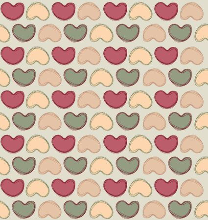 Vintage Hearts  Love hearts Valentin s Day Seamless Pattern  Bright  seamless background   Vector