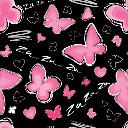 animal lover: Love seamless pattern with butterfly  Za-za-zu black background Love hearts Valentin s Day Seamless backdrop   Illustration