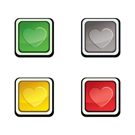 Button set   design elements with love heart   Vector