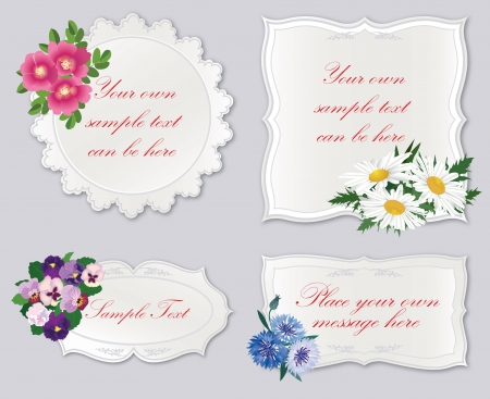 roses and hearts:  set  Floral frames  Greeting card with flower bouquet  Illustration