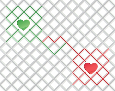 Card with hearts beats graph   illustration of pair of valentine heart on abstract square background  Vector