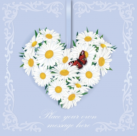 Greeting card with white flower chamomile bouquet and butterfly Stock Vector - 18003722