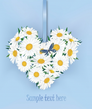 Greeting card with white flower chamomile bouquet and butterfly Vector
