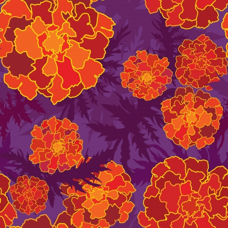 Floral seamless background in 60s style, 1960s texture  Red, orange and purple flowers  Ornate flower pattern   Vector