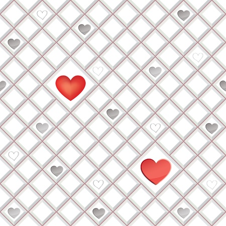 st valentin: Love hearts lonely seamless background  St  Valentin s day pattern  Abstract tiles texture   Illustration