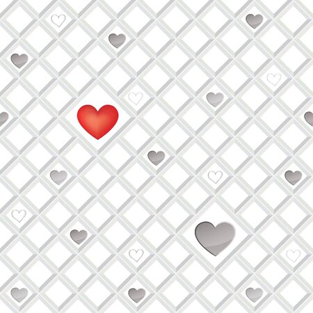 Love hearts lonely seamless background  St  Valentin s day pattern  Abstract tiles texture   Vector