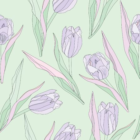 floral seamless pattern with lilac tulips  flower seamless background   Vector
