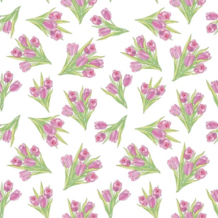 floral seamless pattern with lilac and pink tulips  flower seamless background   Vector