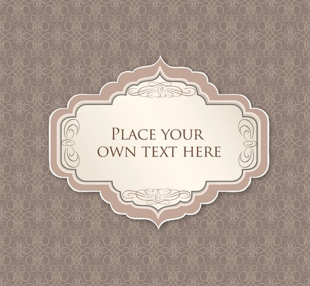 Vintage frame  Floral seamless texture  Greeting card with ribbon and copyspace  Vector