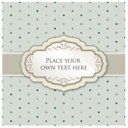 Vintage frame  Polka dot seamless texture   Greeting card with ribbon and copyspace