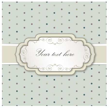 Vintage frame  Polka dot seamless texture   Greeting card with ribbon and copyspace  Vector