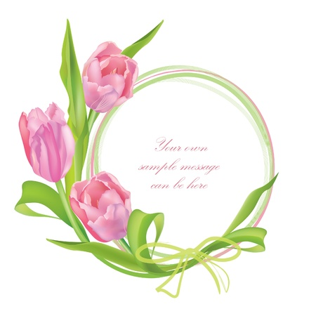 circular frame: Flower frame with tulips