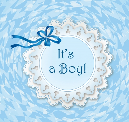 Greeting card with bow ribbon and frame for text  it s a boy postcard   Vector