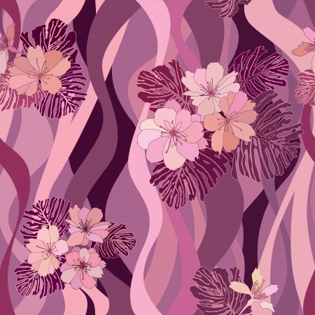 floral seamless background  gentle flower pattern  flower wavy pattern in 1970s style  spring texture   Vector