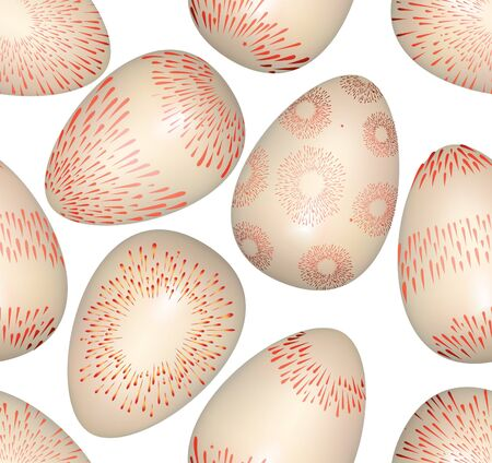 Easter eggs seamless bright spring pattern on white background  Vector