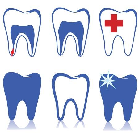 Tooth  set  Dental symbols set Stock Vector - 18320729