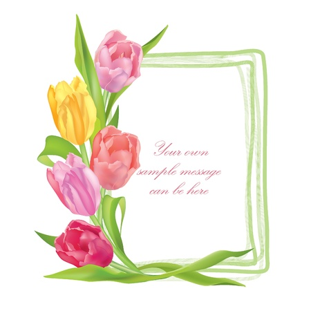 flower border pink: Flower frame  Floral border  Bouquet tulips isolated
