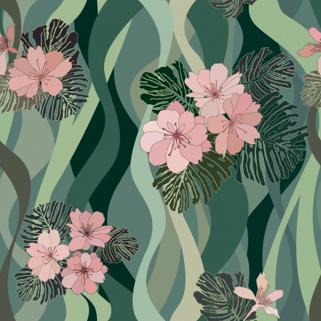wavy fabric: abstract floral seamless pattern  flower vectors seamless background in 1970s style