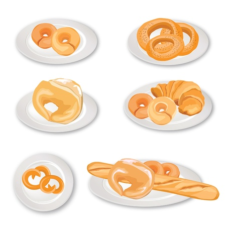 Cake on plate  Bakery vector set  Tasty collection  Stock Vector - 18393898