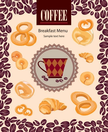Coffee bean poster  Vintage vector background with coffee cup label and cakes  Coffee frame   Vector