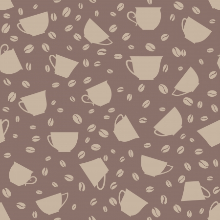 Coffee seamless background  Coffee cups and beans seamless pattern  Vector
