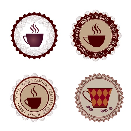 Coffee cups labels vector set  Coffee stamps collection  Vector