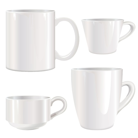 Cup set  White cups collection in photorealistic style Stock Vector - 18393887
