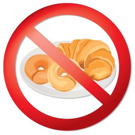 No bread - gluten free icon  realistic vector illustration  Fat danger sign Stock Vector - 18394411