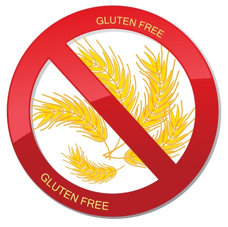 gluten: No bread - gluten free icon  realistic illustration  Fat danger sign Illustration