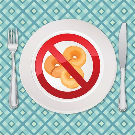 No bread - gluten free icon  realistic illustration  Fat danger symbol Vector