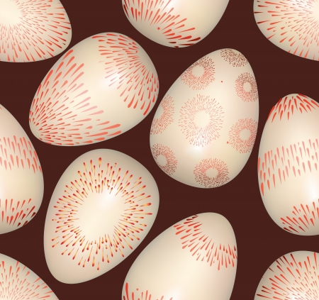Easter eggs seamless bright spring pattern on dark background Vector