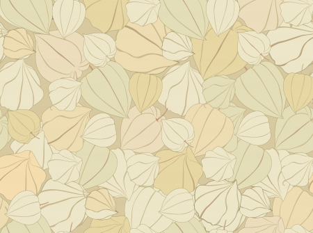 winter cherry: floral seamless pattern with gentle flowers  Autumn background with winter cherry