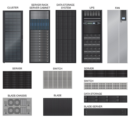 data center: Server room equipment vector set in photo realistic style