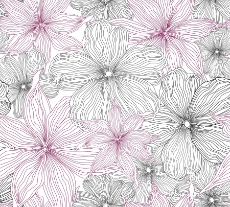 Black and white seamless background with white and pink flowers   Graphic