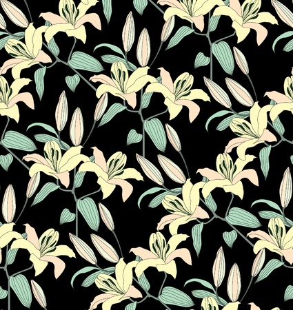 Gentle flower lily seamless background  Stylish chinese floral pattern over black   Stock Vector - 18524408