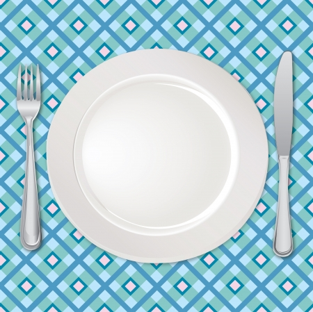 table food: Menu card with plate, fork and knife  Illustration