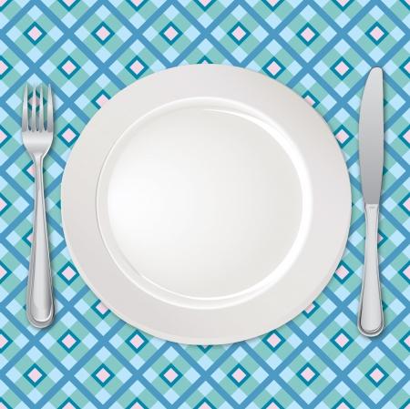 piatto cibo: Scheda del menu con piatto, forchetta e coltello Vettoriali