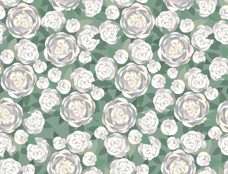 japanese motif: loral seamless pattern  gentle white flowers peony seamless background in 1960s style   Illustration