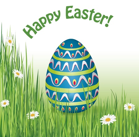 Happy Easter Greeting Card with egg on grass and copy space Vector