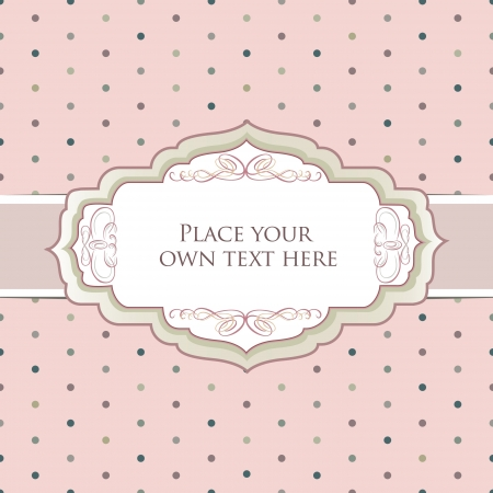 lattice frame: Vintage frame  Polka dot seamless texture   Greeting card with ribbon and copyspace