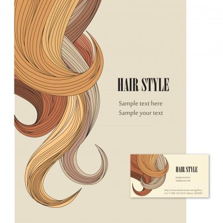 人間の髪の毛: 髪背景髪スタイル ベクトル設定ポスターとカードを訪問