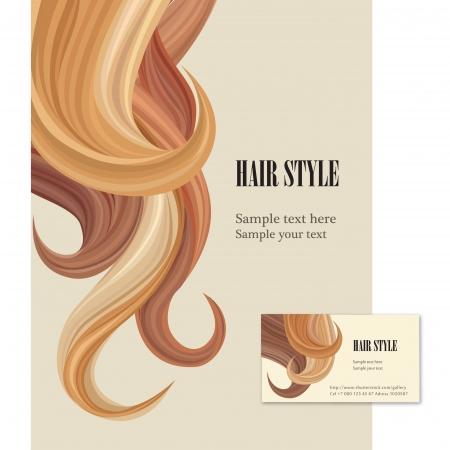 pelo ondulado: Fondo hair set Poster vector y tarjeta de visita Vectores