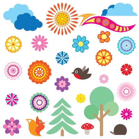 Flower and trees animals and  clouds vector set in childish style Vector