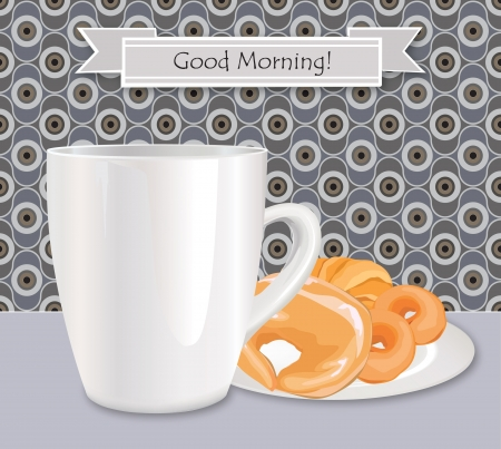 Morning tea label  Greeting card with mug and fresh backery Vector