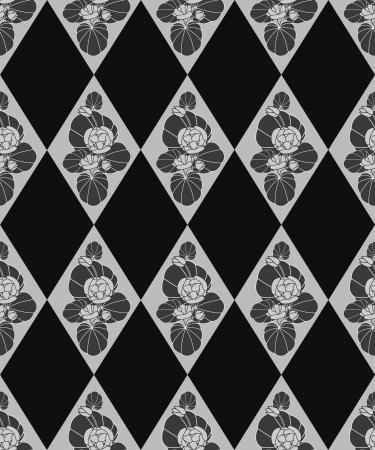 Abstract decorative floral retro seamless pattern  flower tiled black background Vector