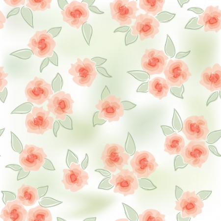 Rose background  Seamless pattern with flowers rose, vector floral illustration  Water color white backdrop Vector
