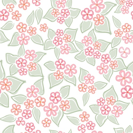 Flower background  Seamless pattern with flowers, vector floral illustration  Water color white backdrop Vector