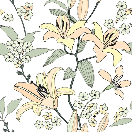 floral seamless pattern  gentle flowers lily background  White wallpaper  Vector