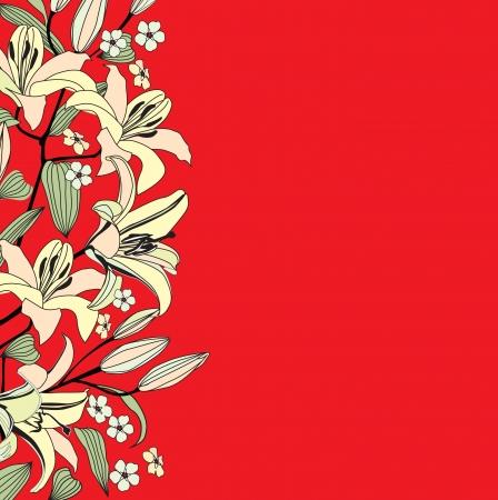 beautiful red hibiscus flower: Flor de lirio fondo frontera Red floral patr�n Vectores