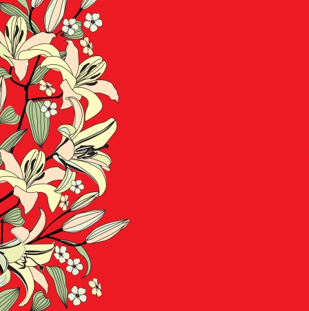 day lily: Flower lily background  Red floral border  Flourish pattern